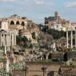 Foro Romano  and coliseum on background — Stock Photo