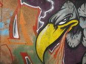 Vulture graffiti on a wall — Stock Photo