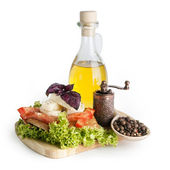 Olive oil, cheese and tomato — Stock Photo