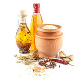 Rice and olive oil with spices — Stock Photo