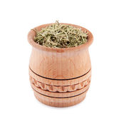 Rosemary in wooden bowl — Stock Photo