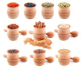 Set of spices in wooden bowls — Stock Photo
