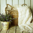 Stock Photo: Vintage basket with lavender