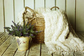 Vintage basket with lavender — Stock Photo