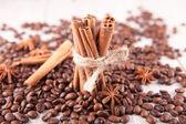 Kanel, stjärnanis och kaffebönor — Stockfoto