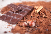 Cocoa powder, chocolate bars and hazelnuts o n a wooden board — Stock Photo