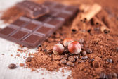 Cocoa powder, chocolate bars and nuts — Stock Photo