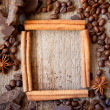 Frame of cinnamon sticks, coffee and chocolate — Stock Photo