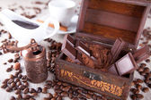 Chocolate in a dower chest — Stock Photo