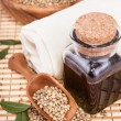 Stock Photo: Hemp oil with seeds