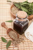 Hemp oil in a vessel with seeds — Stock Photo