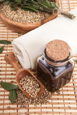 Hemp oil with seeds — Stockfoto