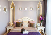 Bedroom suite with purple color — Stock Photo