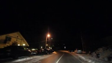 Mountain Road On A Winter Night — Stockvideo