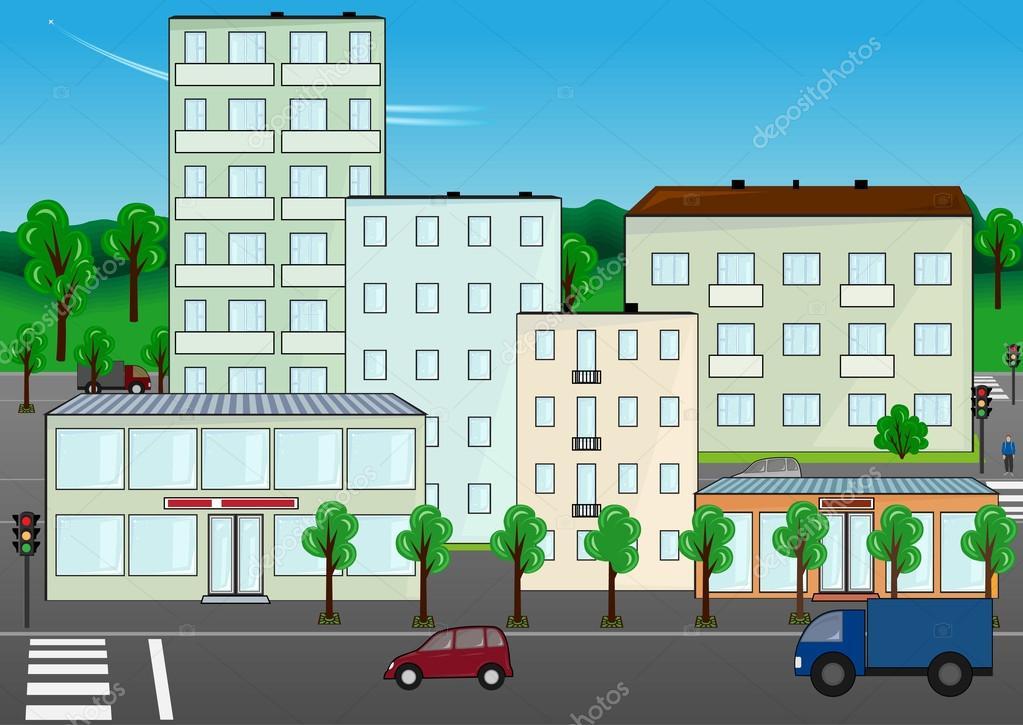 城市街道 — 图库矢量图像08