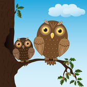 Violet owl on the oaks branch — Stock Vector