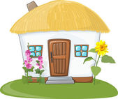 House with thatched roof — Stockvector