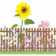 Stock Photo: Fense and flowers repeating pattern