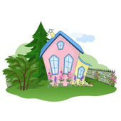 Pink-yellow house — Stock Photo
