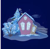 Vánoční dům v noci — Stock fotografie