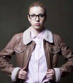 Blonde girl is in a jacket — Stock Photo
