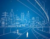 Neon line city, vector lines town — Stock Vector
