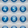 Stock Vector: Glossy numbers vector set, blue glossy buttons