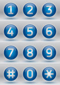 Glossy numbers vector set, blue glossy buttons — Stock Vector
