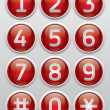 Royalty-Free Stock Vector Image: Red glossy buttons with numbers