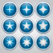 Nine blue glossy icons strars, vector buttons with stars — Stock Vector #25793111