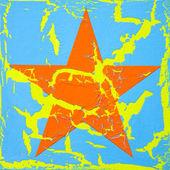 Estrela de imagem, laranja de estrela, rachados pintura arte na superfície azul — Fotografia Stock