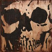 Image skull on a wooden surface, old image, art skull — Stock Photo