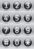 Glossy numbers vector set, black glossy buttons — Vecteur