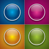 Four glossy buttons for holey texture. Blue, pink, orange and green — Stock Vector