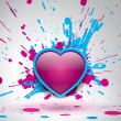 Love bomb, color explosion, vector bang, bright spray pink and blue paint — Stock Vector