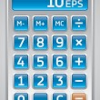 Stock Vector: Vector calculator, numbers on blue buttons