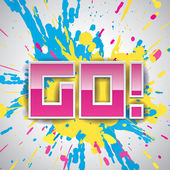 GO! vector paint explosion, pink, blue and yellow drops — Stock Vector