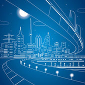 Vector lines bridge and trasport overpass, energy city, infrastructure vector design — Stock Vector