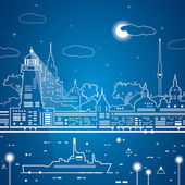 Vector city of white lines, neon line town, ship on the water — Stock Vector