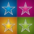 Four glossy stars for holey texture. Blue, pink, orange and green. Vector set background — Stock Vector