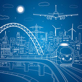 Vector lines train on the bridge, train on the background of the light city and plane comes in to land — Stock Vector