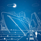 Vector lines cargo ship, ship on the water, port, ship loading, cargo port — Stock Vector
