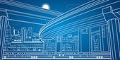 Night city, vector lines overpass, vector bridge, vector design — Stock Vector