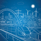 Vector lines train on the overpass, train on the background of the light city — Stock Vector