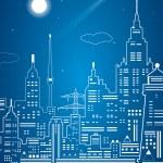 Neon city, vector lines town, city infrastructure — Stock Vector #43137253