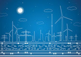 Energy landscape, vector lines, industrial panorama — Stock Vector