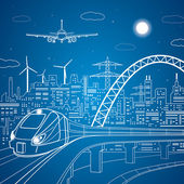 Vector lines train on the bridge, train on the background of the light city and plane comes in to land, vector art — Stock Vector