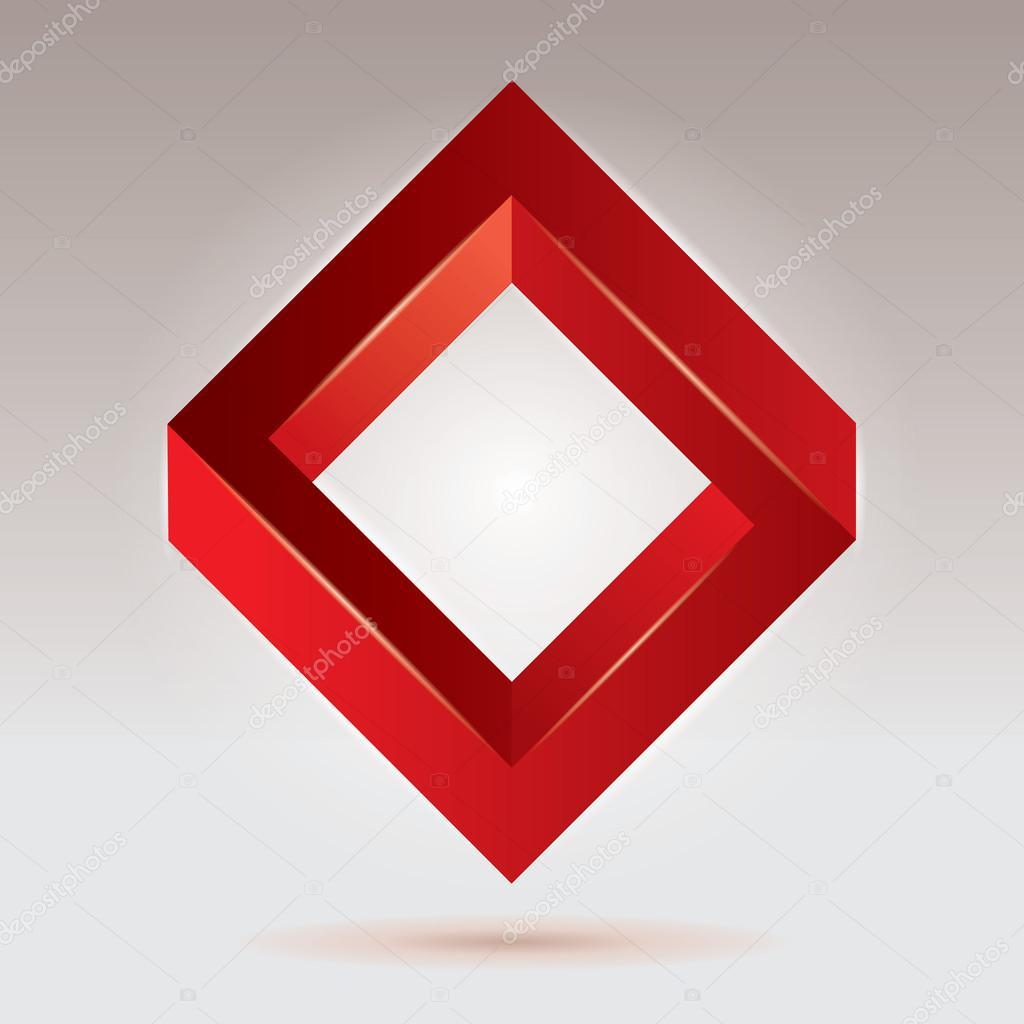 Figura imposible roja rombo de vector objetos - Figuras geometricas imposibles ...