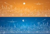 Airport panorama, vector city infrastructure — Stock Vector