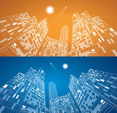 Airplane flying. Business building on background, neon city, vector design panorama — Stock Vector